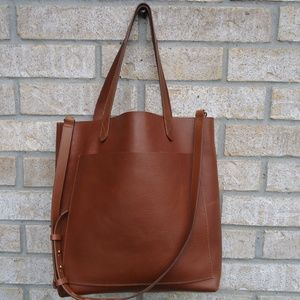 MADEWELL medium transport brown leather  tote